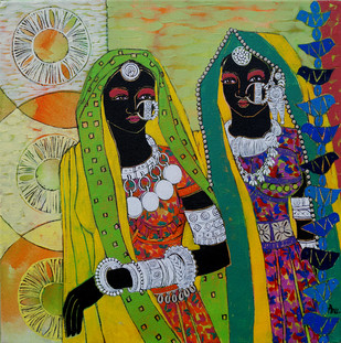 Ethnic Serendipity 28 by Anuradha Thakur, Traditional Painting, Acrylic & Ink on Canvas, Green color