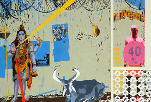 Holy Cow by Jignesh Panchal, Pop Art Painting, Acrylic on Canvas, Beige color