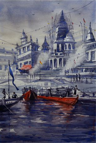Varanasi Ghat by Krishnendu Halder, Impressionism Painting, Watercolor on Paper, Blue color