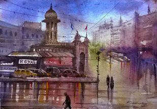 Mosamjahi market during rainy day by Krishnendu Halder, Impressionism Painting, Watercolor on Paper, Brown color