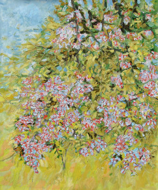 Blossoming Fruit Tree II by Animesh Roy, Impressionism Painting, Oil on Linen, Beige color