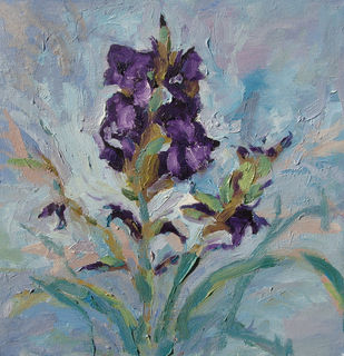Gladiolus 5 by Animesh Roy, Impressionism Painting, Oil on Linen, Green color