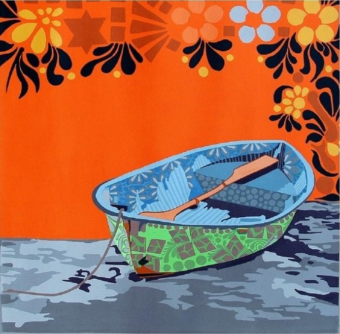 Nature Boat 1 by Barkha jain, Decorative Painting, Acrylic on Canvas, Orange color