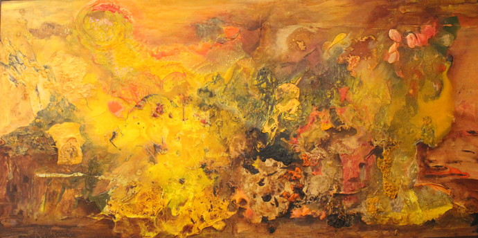 City of Zo-Ra-Ro by Rashmi Khurana, Abstract Painting, Acrylic on Canvas, Brown color