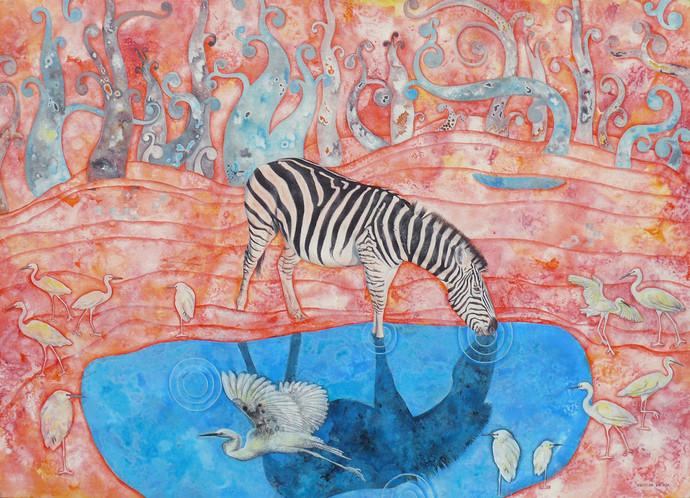 Drinking Zebra Digital Print by Abhisek Dey,Fantasy