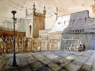 Mecca Masjid by Krishnendu Halder, Impressionism Painting, Watercolor on Paper, Beige color
