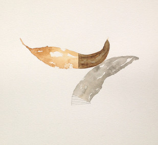 Untitled 1452 by Arvind V Patel, Minmalism Painting, Watercolor on Paper, Beige color