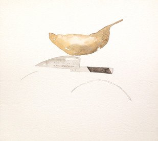 Untitled 1447 by Arvind V Patel, Minimalism Painting, Watercolor on Paper, Beige color
