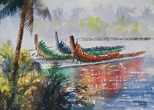Boat Race by Mopasang Valath, Impressionism Painting, Watercolor on Paper, Gray color