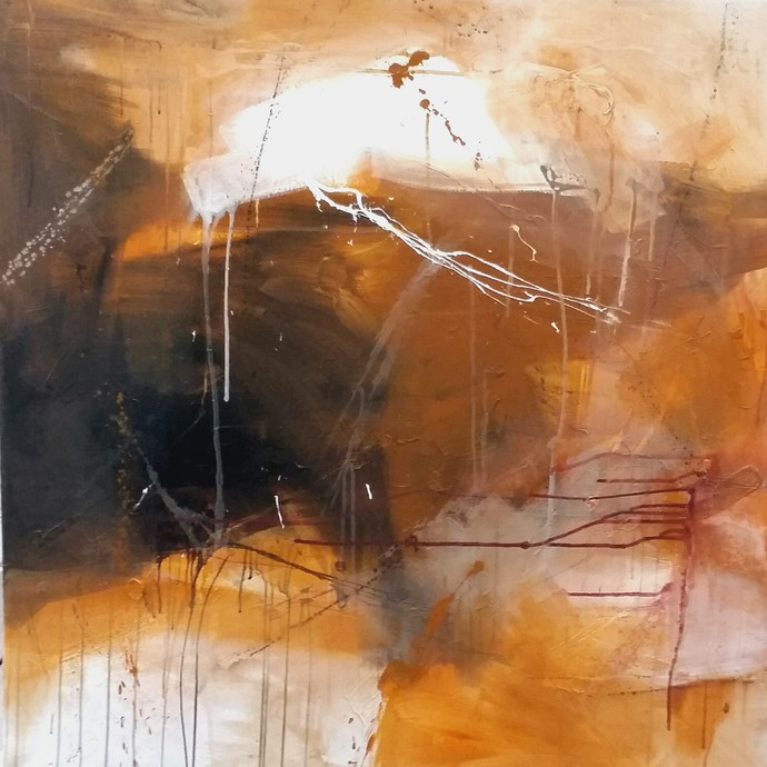 Space 2 by Gulrez Ali, Abstract Painting, Acrylic on Canvas, Brown color
