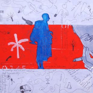 Who Will Be Rescued? Five by Samiran Dhar, Conceptual Painting, Mixed Media on Paper, Pink color