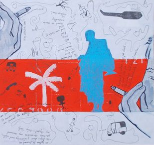 Who Will Be Rescued? Six by Samiran Dhar, Conceptual Painting, Mixed Media on Paper, Pink color