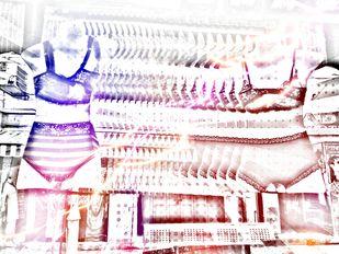 The Vacant Women by Pankaj Mullick, Digital Digital Art, Digital Print on Canvas, Pink color
