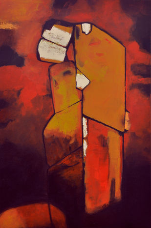 Couple In Love Mood by Dipak Asole, Decorative Painting, Acrylic on Canvas, Brown color