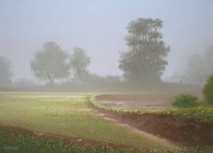 Drizzle by Fareed Ahmed, Impressionism , Oil on Canvas, Gray color