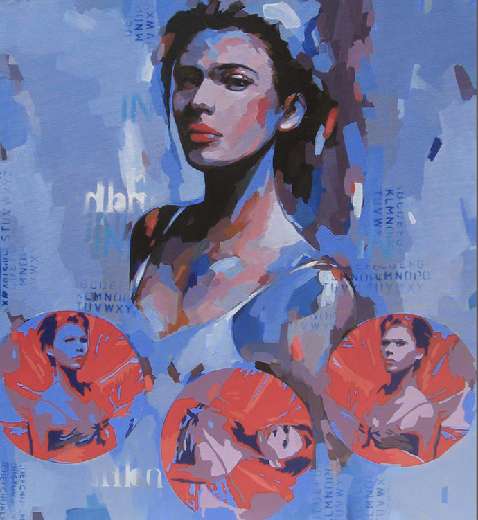 Expression Series by Anindya Mukherjee, Impressionism, Pop Art Painting, Acrylic on Canvas, Blue color