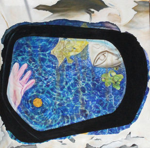 Objects In The Mirror Are Closer Than They Appear by Kurchi Dasgupta, Surrealism Painting, Oil on Canvas, Blue color