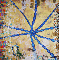 The Cosmic Weave by Kurchi Dasgupta, Expressionism Painting, Oil on Canvas, Beige color