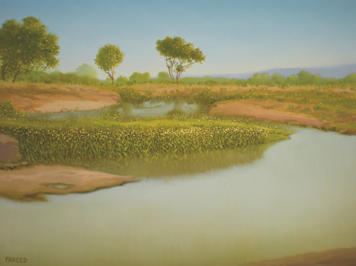 Village Pond by Fareed Ahmed, Impressionism , Oil on Canvas, Beige color