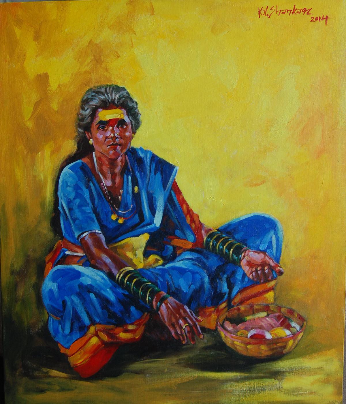 Jogavva by K V Shankar, Realism Painting, Acrylic on Canvas, Green color