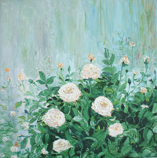 White Roses by Animesh Roy, Impressionism Painting, Oil on Canvas, Cyan color
