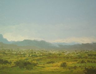 View From Hill by Fareed Ahmed, Impressionism , Oil on Canvas, Beige color
