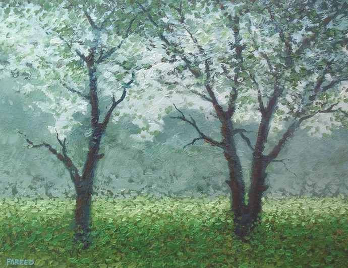 Babool Trees by Fareed Ahmed, Impressionism , Oil on Canvas, Green color