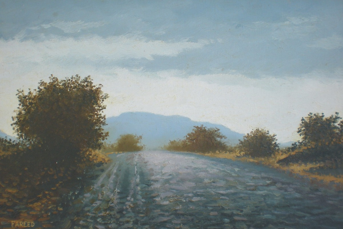 Roadside Bushes by Fareed Ahmed, Impressionism , Oil on Canvas, Gray color