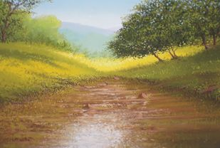 Spring by Fareed Ahmed, Impressionism , Oil on Canvas, Brown color