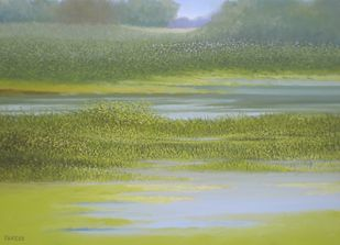Winter Greenery by Fareed Ahmed, Impressionism , Oil on Canvas, Green color