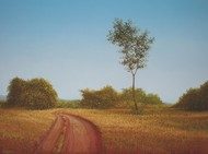 Way To Village by Fareed Ahmed, Impressionism , Oil on Canvas, Brown color