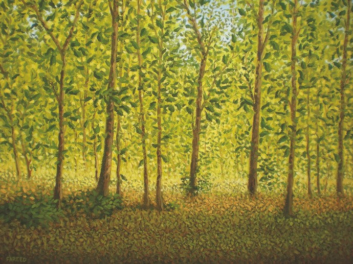Teak Trees by Fareed Ahmed, Impressionism , Oil on Canvas, Green color