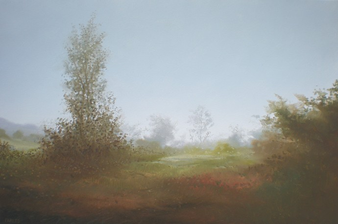Winter Fog by Fareed Ahmed, Impressionism , Oil on Canvas, Cyan color