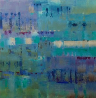 Blues by Gita Hudson, Abstract , Oil on Canvas, Green color