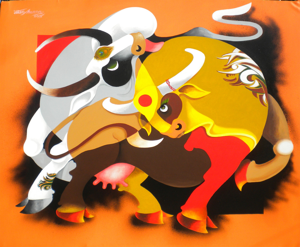 Romance by Uttam Manna, Decorative Painting, Acrylic on Canvas, Orange color