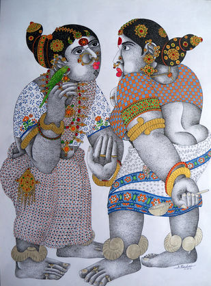 Women With Parrot 17 by Narahari Bhawandla, Decorative Painting, Acrylic & Ink on Paper, Brown color