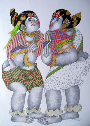 Women With Parrot 18 by Narahari Bhawandla, Decorative Painting, Acrylic & Ink on Paper, Pink color