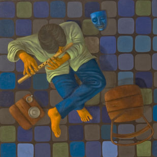 The Flutist by Swaroop Biswas, Pop Art Painting, Oil & Acrylic on Canvas, Brown color