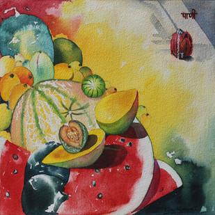 Greeshm Ritu 5 by Vijay Kiyawat, Decorative Painting, Watercolor on Paper, Olive color