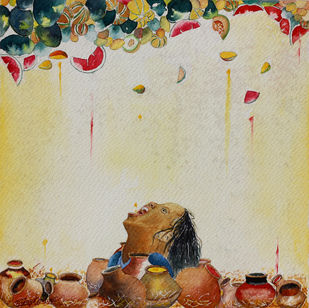 Greeshm Ritu 7 by Vijay Kiyawat, Decorative Painting, Watercolor on Paper, Beige color