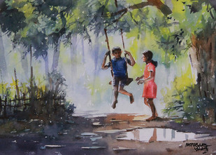 Good Old Days by Mopasang Valath, Impressionism Painting, Watercolor on Paper, Gray color