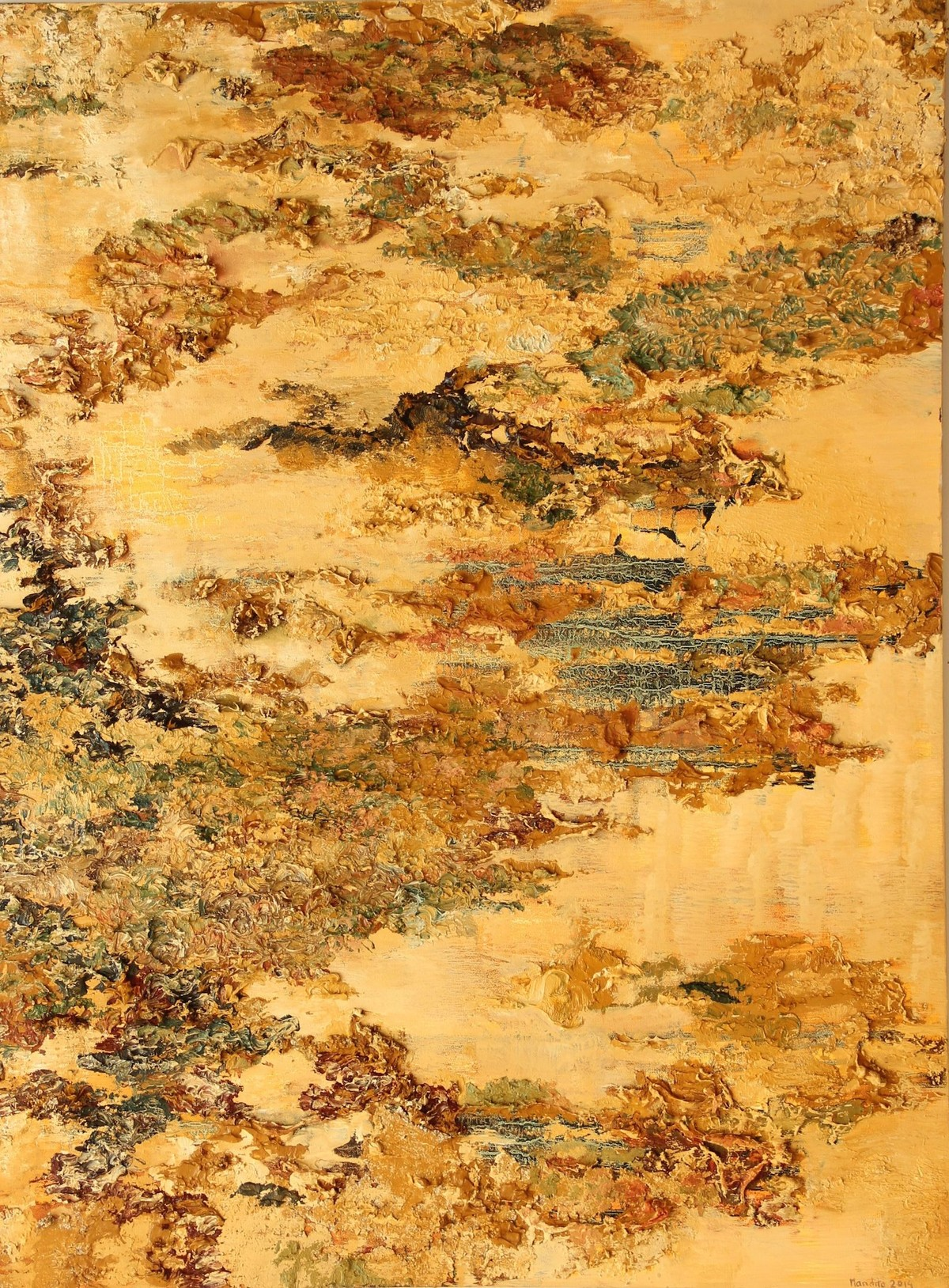 Since Then by Nandita Mukand, Abstract Painting, Mixed Media on Canvas, Brown color