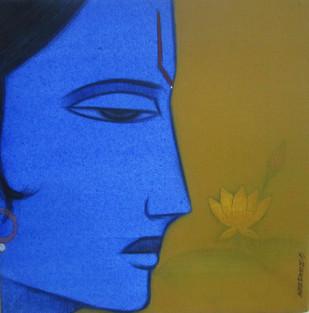 Lord Krishna by Ashok Rathod, Decorative Painting, Acrylic on Canvas, Blue color