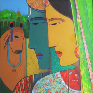 Devotional Love by Ashok Rathod, Decorative Painting, Acrylic on Canvas, Green color