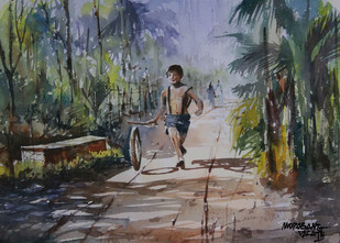 Total Freedom by Mopasang Valath, Impressionism Painting, Watercolor on Paper, Gray color