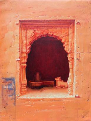 Benaras III by Anil Kumar Yadav, Decorative Painting, Acrylic on Canvas, Brown color