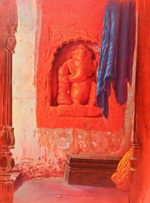 Benaras IV by Anil Kumar Yadav, Decorative Painting, Acrylic on Canvas, Red color