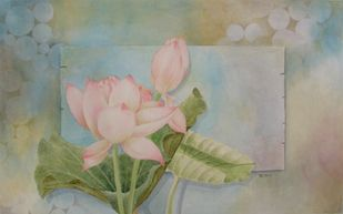 Jnana Padma 1 by Biju P Mathew, Realism Painting, Watercolor on Paper, Beige color