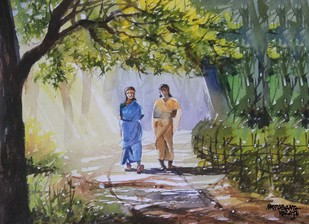Easy Walk by Mopasang Valath, Impressionism Painting, Watercolor on Paper, Green color