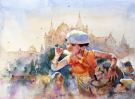 Warm Sun Warmer Love by Vikrant Shitole, Impressionism Painting, Watercolor on Paper, Brown color